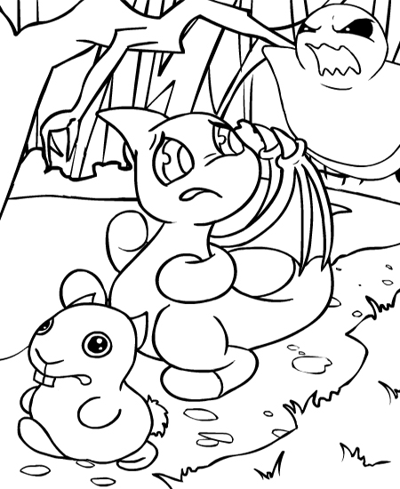 neopets coloring pages printable | Neopets - Haunted Woods Colouring Pages