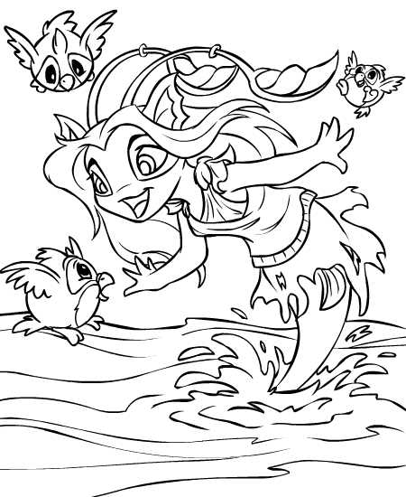 neopets coloring pages printable | Neopets - Maraqua Colouring Pages